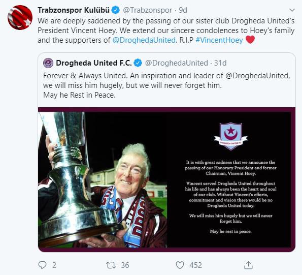 Trabzonspor'dan Drogheda'ya başsağlığı mesajı