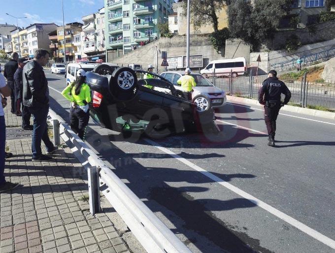 Trabzon'da kaza! Otomobil takla attı