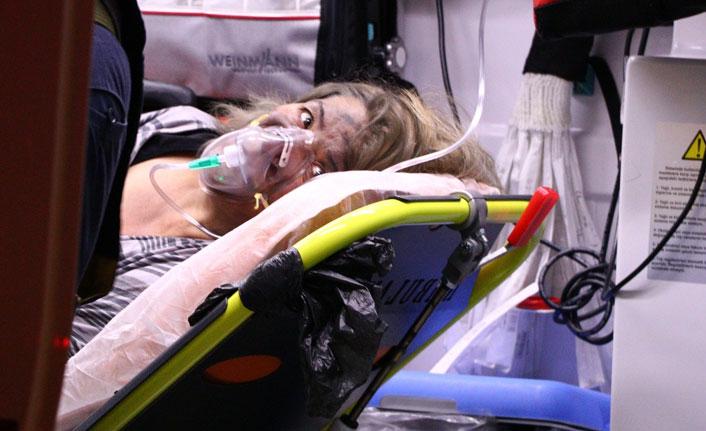 Başkent'te alevlerin arasında kalan kadın balkondan atladı