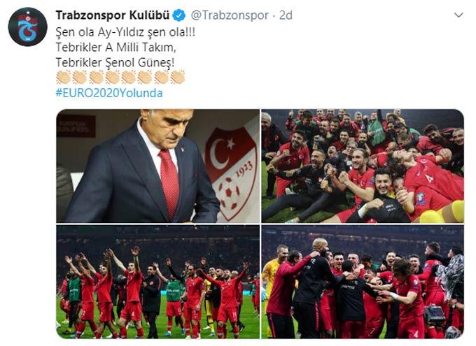 Trabzonspor'dan Milli takım ve Şenol Güneş mesajı
