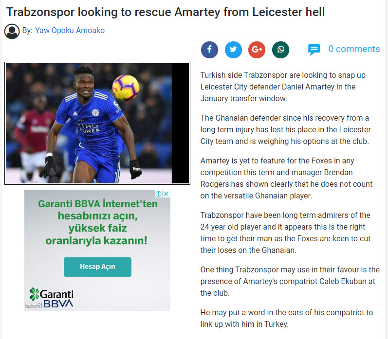 Gana'dan Trabzonspor iddiası! Amartey...