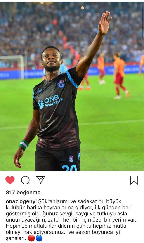 Onazi Trabzonspor'a böyle veda etti