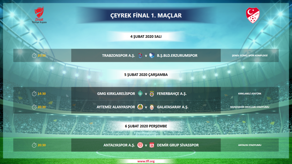 Trabzonspor B.B. Erzurumspor kupa maçının programı belli oldu