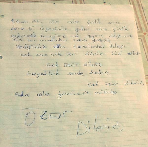Eve giren hırsız bir şey bulamayınca not bıraktı