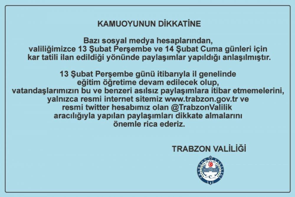 Trabzon Valiliği açıkladı - 13 Şubat 2020 Perşembe Okullar tatil mi?