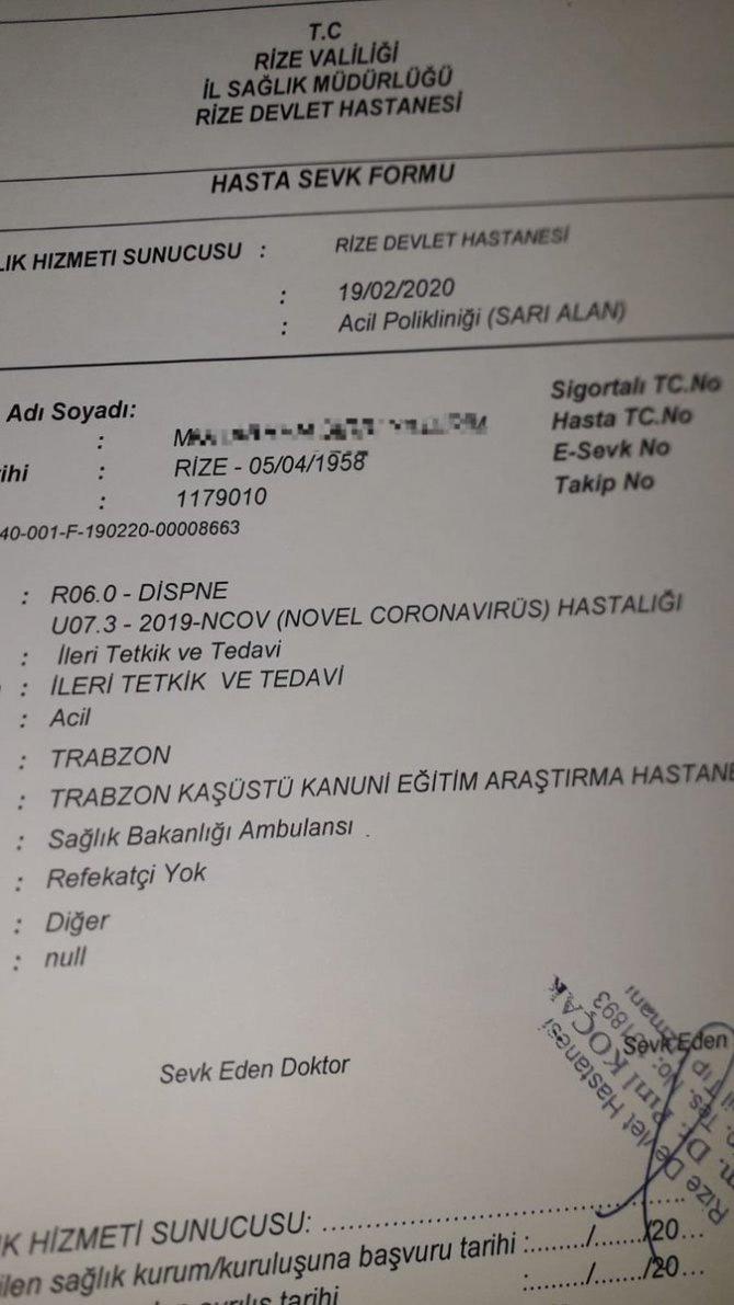 Coronavirüs paniği! Trabzon'a sevkedildi