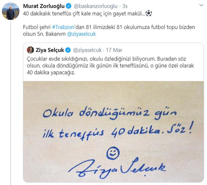 """Bakan Selçuk'un """"ilk teneffüs"""" twitine Trabzon'dan destek"""