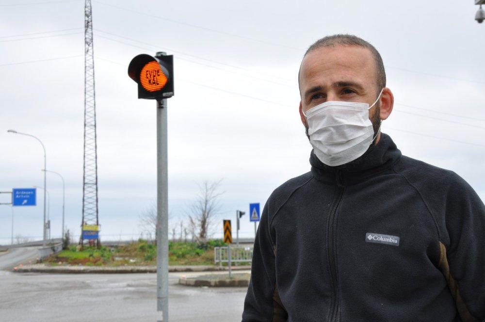 Rize'de trafik ışıklarına koronavirüs düzenlemesi