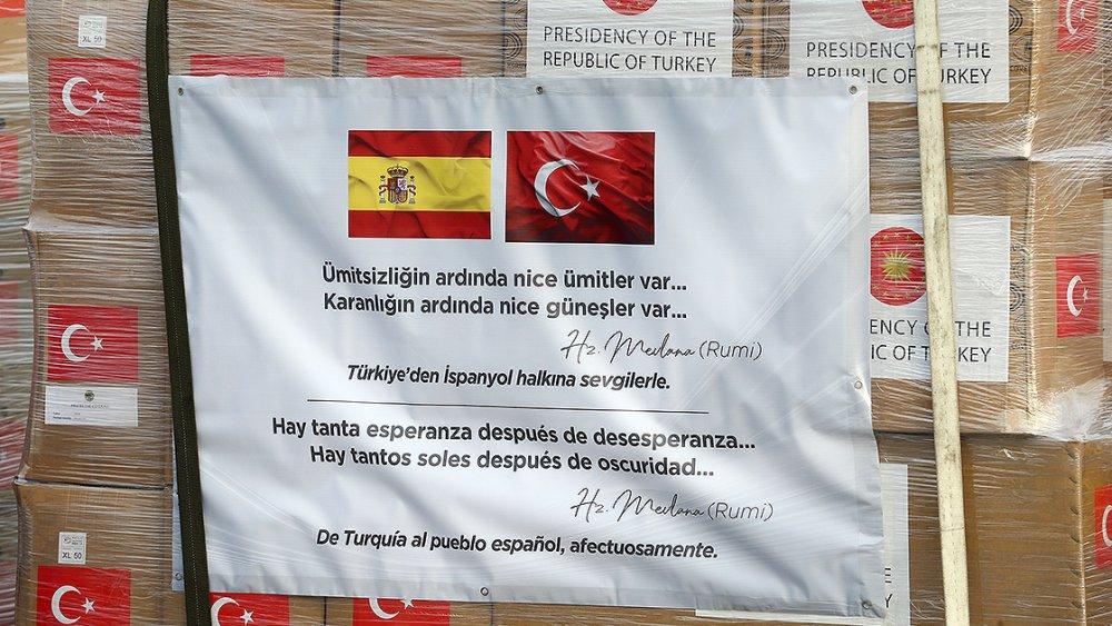 Türkiye'nin tıbbi yardımını İspanya ve İtalya'ya taşıyan uçak havalandı