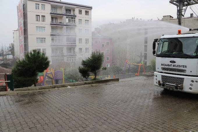 Akçaabat'ta dezenfekte çalışmaları sürüyor