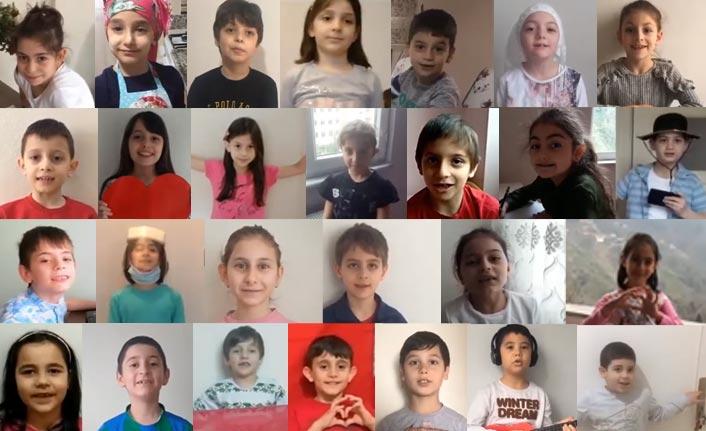 Rize'de Hasan Yılmaz İlkokulu öğrencilerinden evde kal çağrısı
