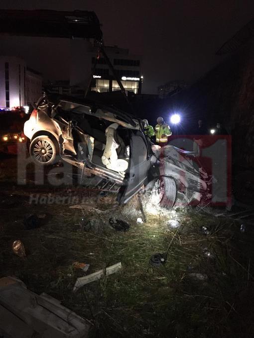 Trabzon'da araç 10 metrelik duvardan uçtu – 2 yaralı!