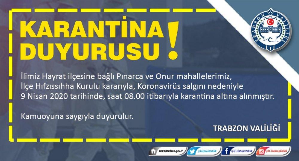 Trabzon'da iki mahalleye daha karantina