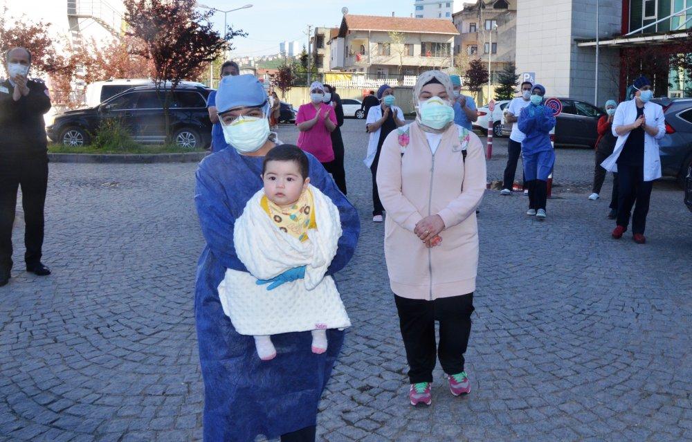 Ordu'da 7 aylık Duru ve ailesi korona virüsü yendi