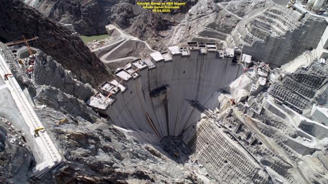 Yusufeli Barajı'nın yapım aşamaları böyle görüntülendi