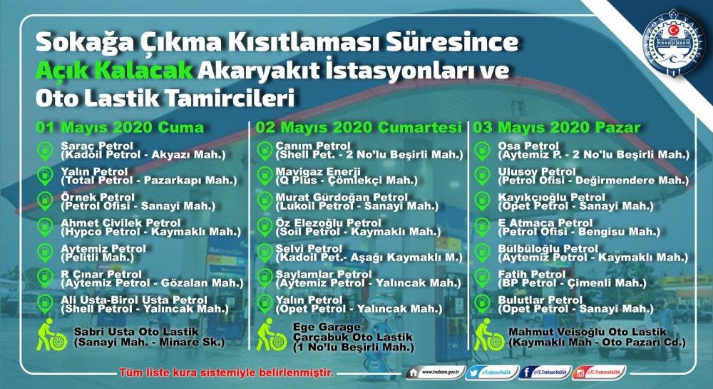 Trabzon'da sokağa çıkma yasağında açık olacak akaryakıt istasyonları ve lastikçiler