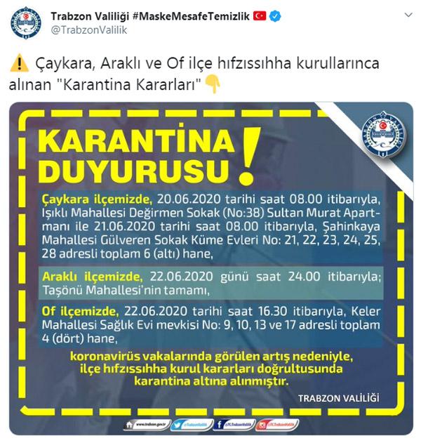 Trabzon'da 3 ilçede karantina kararı