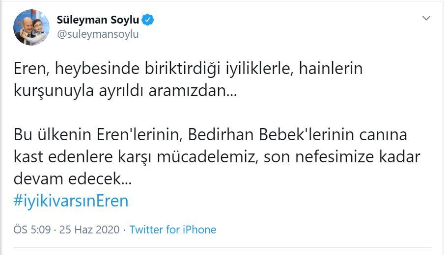 Bakan Soylu'dan 'Eren Bülbül' paylaşımı