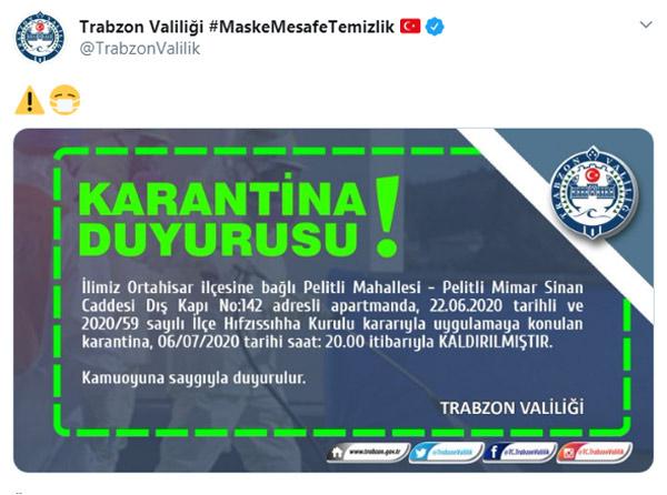 Trabzon'da karantina kararı