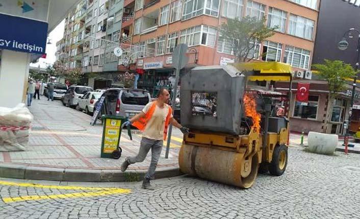 Rize'de iş makinesi alev aldı, kimse durmayınca isyan etti