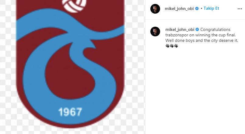 Obi Mikel'den Trabzonspor mesajı