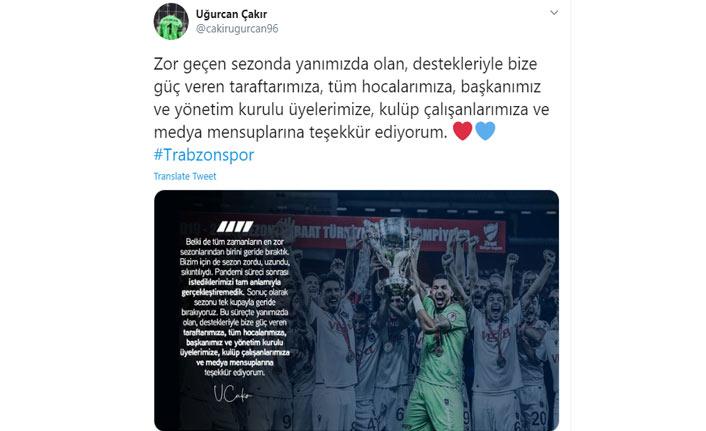 Uğurcan Çakır'dan şampiyonluk sonrası teşekkür mesajı