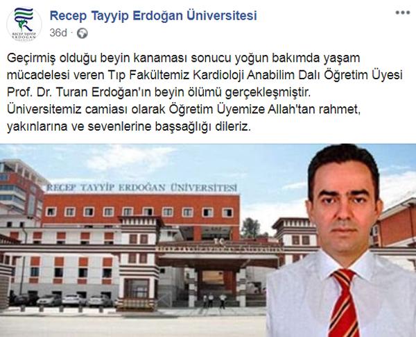 Trabzonlu Prof. Dr. Turan Erdoğan'dan acı haber