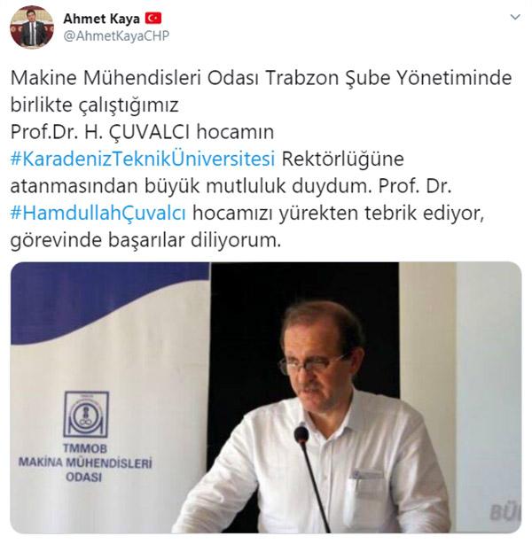 Ahmet Kaya'dan yeni rektöre tebrik