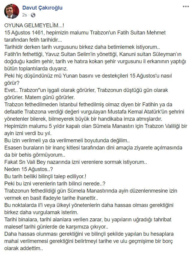 """Davut Çakıroğlu'ndan Sümela Ayini çıkışı! """"Neden 15 Ağustos?"""""""