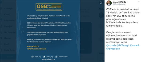 OSB'lerdeki liselere gençlerden büyük ilgi