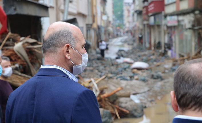 Bakan Soylu Giresun'da felaket bölgelerini inceledi