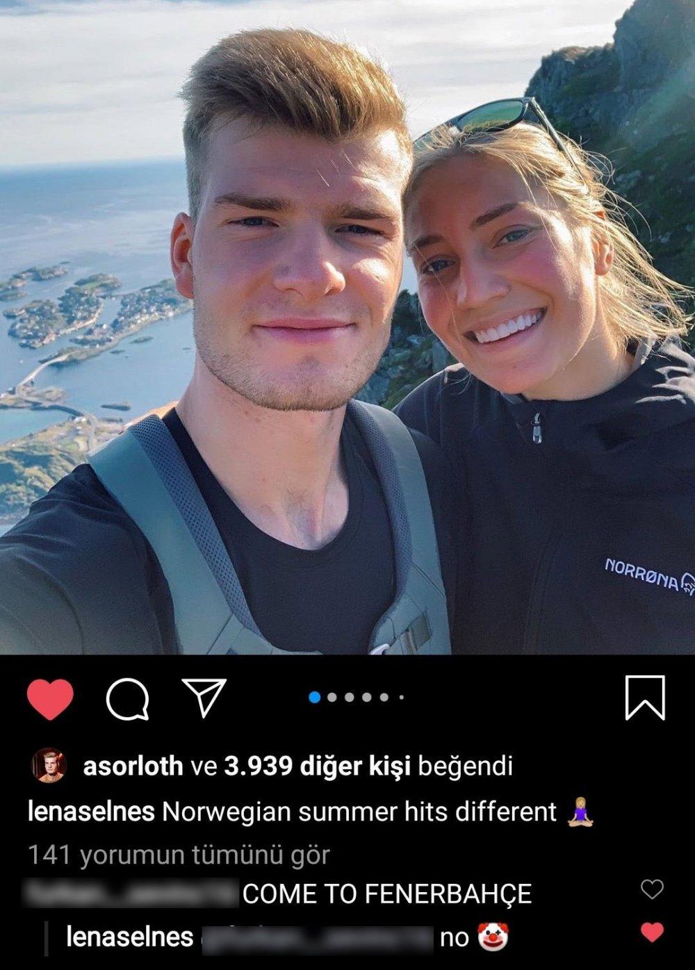 Sörloth'un kız arkadaşı Fenerbahçe taraftarına böyle cevap verdi