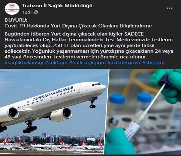Trabzon'da önemli koronavirüs duyurusu