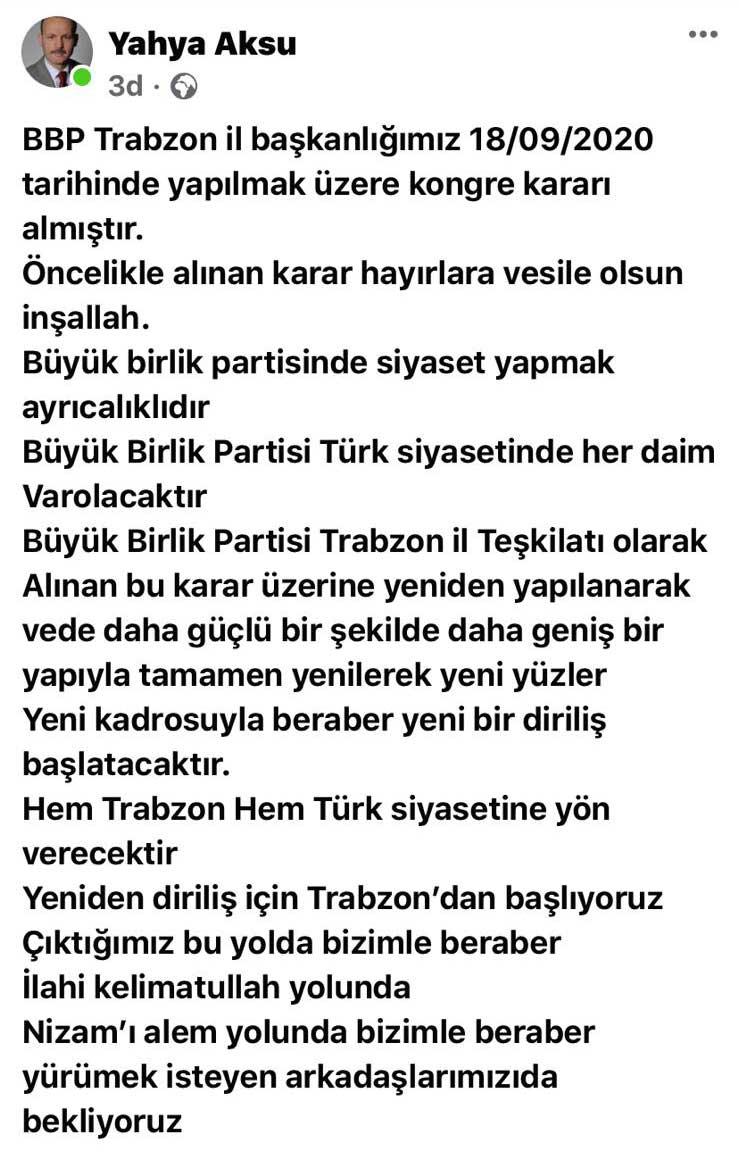 BBP Trabzon'da kongre kararı!