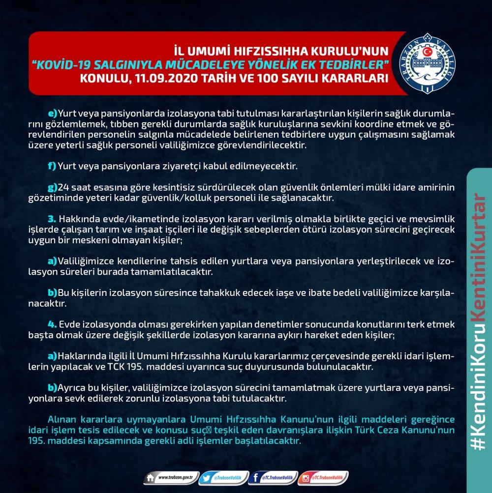Bakanlığın genelgesi Trabzon'da böyle uygulanacak