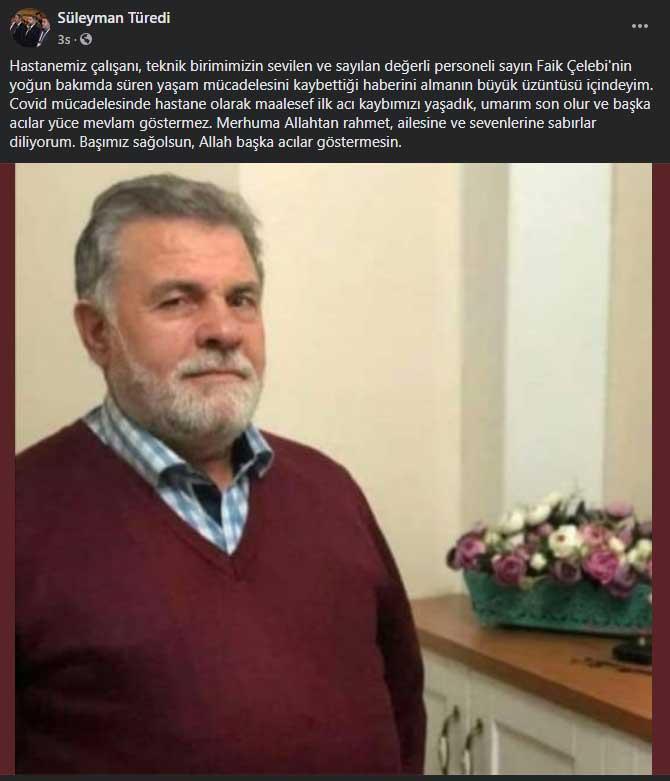 Trabzon'da hastane personeli koronavirüse yenildi