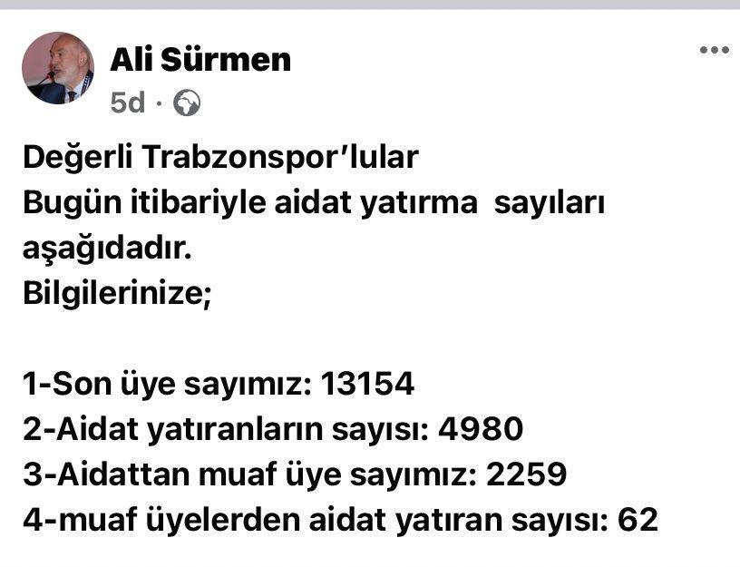 Trabzonspor üyelerinin sadece yarısı aidatlarını yatırmış