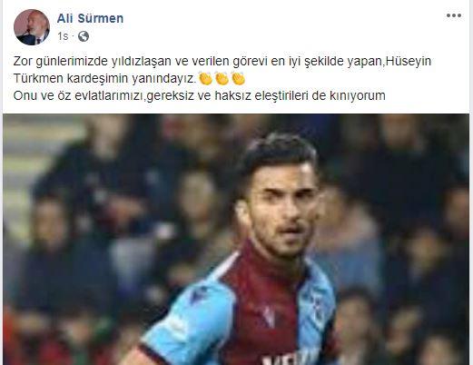 Hüseyin Türkmen'e böyle destek oldu