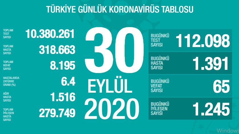 Türkiye'de günün koronavirüs raporu - 30.09.2020