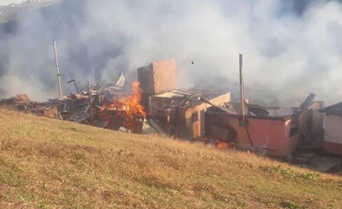 Trabzon'da yayladaki yangın 5 evi kül etti
