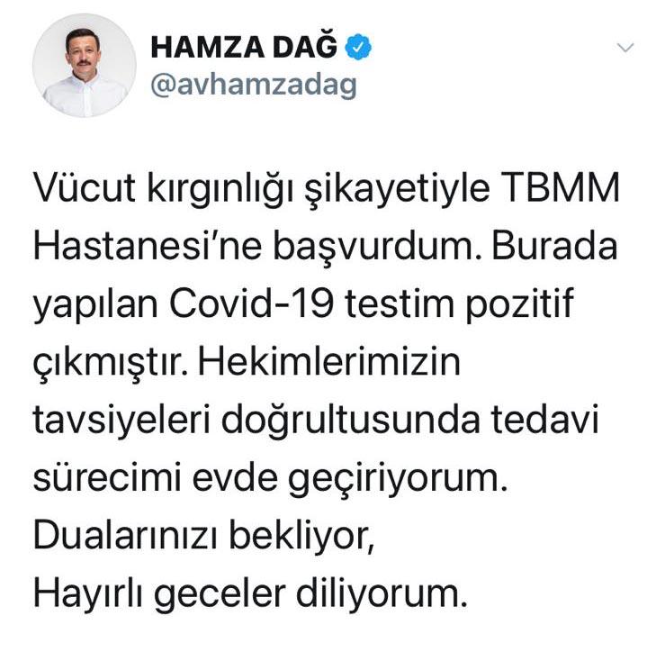 Hamza Dağ koronavirüs oldu! Ak Parti Trabzon teşkilatı endişeye kapıldı