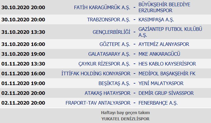Süper Lig Puan durumu, 6. Hafta maçları ve 7. Hafta maç programı