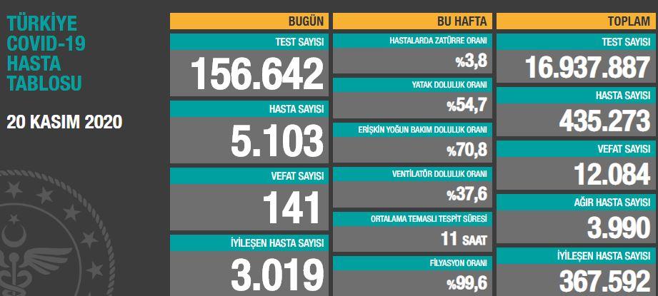 Türkiye'de günün koronavirüs raporu 20.11.2020