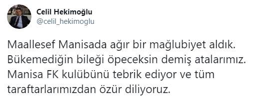 """Celil Hekimoğlu ağır yenilgi sonrası konuştu: """"Özür diliyoruz"""""""