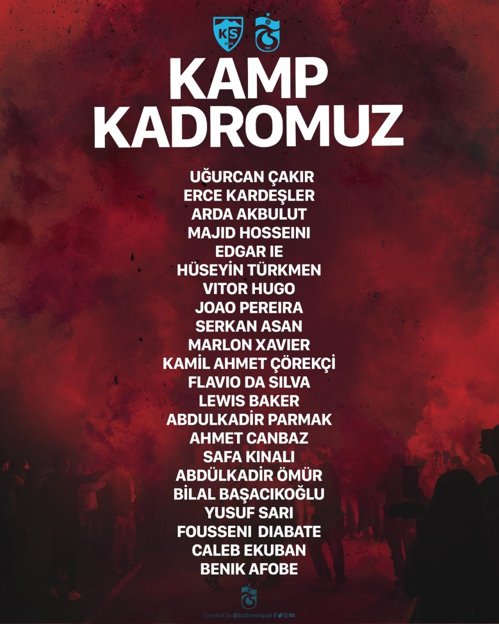 Trabzonspor'un Kayserispor kadrosu belli oldu