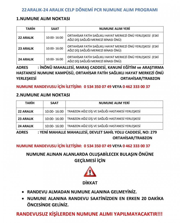 Trabzon İl Sağlık Müdürlüğü programı açıkladı