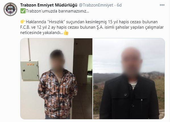 Trabzon'da iki hırsız yakalandı
