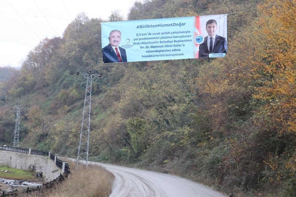 Ordu'da CHP'li başkandan AK Parti'li başkana pankartlı teşekkür