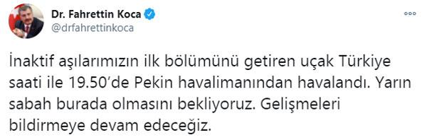 Çin aşıları Türkiye'ye geliyor! Uçak havalandı