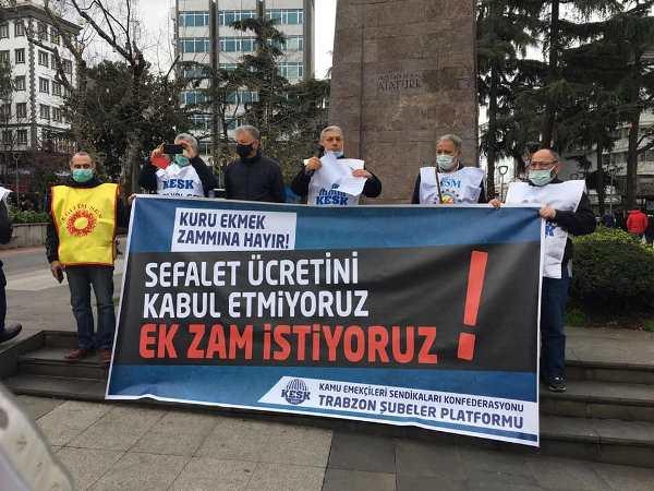 """KESK'ten Trabzon'da zam tepkisi! """"Ek zam istiyoruz"""""""